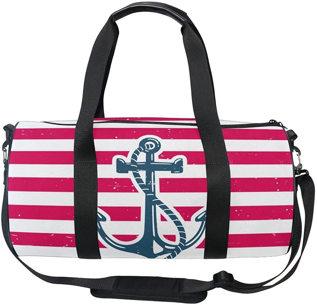 ALAZA Vintage Anichor Chevron Sports Gym Duffel Bag Travel Luggage Handbag for Men Women