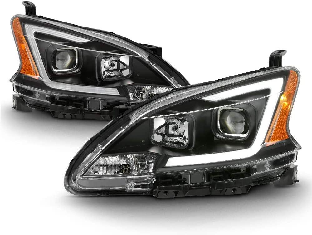 ACANII - For 2013-2015 Nissan Sentra Headlights Black Housing LED DRL Tube Projector Headlamps Driver & Passenger Side