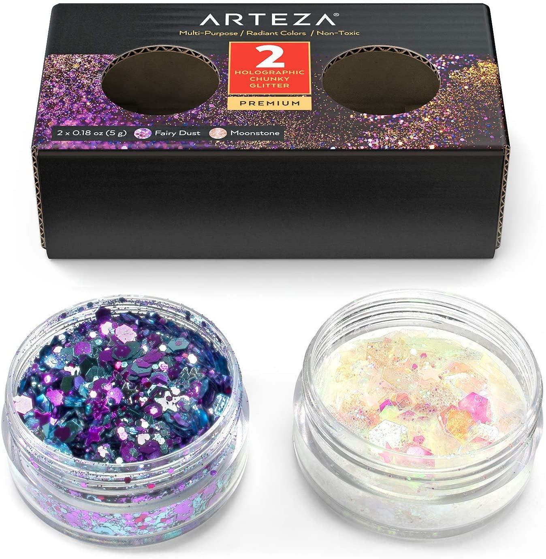 ARTEZA Multi-Purpose Chunky Holographic Glitter Jars (Set of 2 Colors: Fairy Dust & Moonstone - 5 g Each)