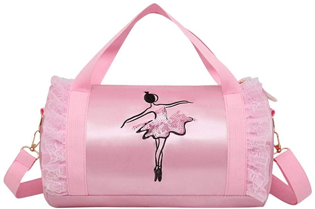 Luerme Children's Dance Bag Shoulder Bag Tote Bag Girl's Dance Duffle Bag Ballet Latin Dance Handbag Satchel Messenger Bags for Little Girls Ballerina Kid Teen Dancer (Style C)