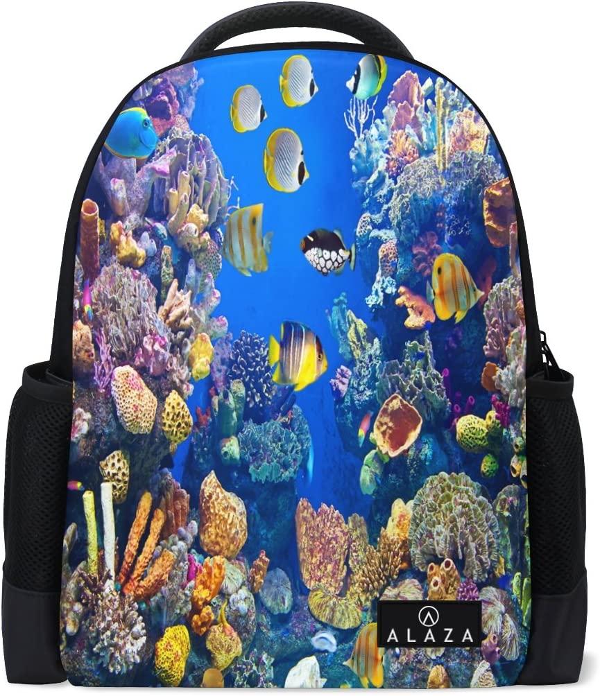 Use4 Beautiful Ocean Coral Reef Fish Polyester Backpack School Travel Bag