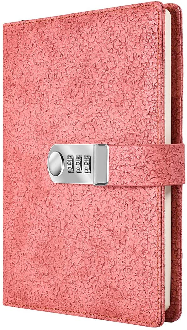 Lock Diary Leather Locking Journal Writing Notebook Planner Organizer A5 Password Journal Locking Personal Diary (Pink)