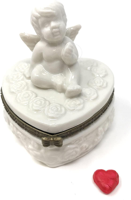 Art Gifts White Cherub Angel on Heart Porcelain Hinged Trinket Box PHB