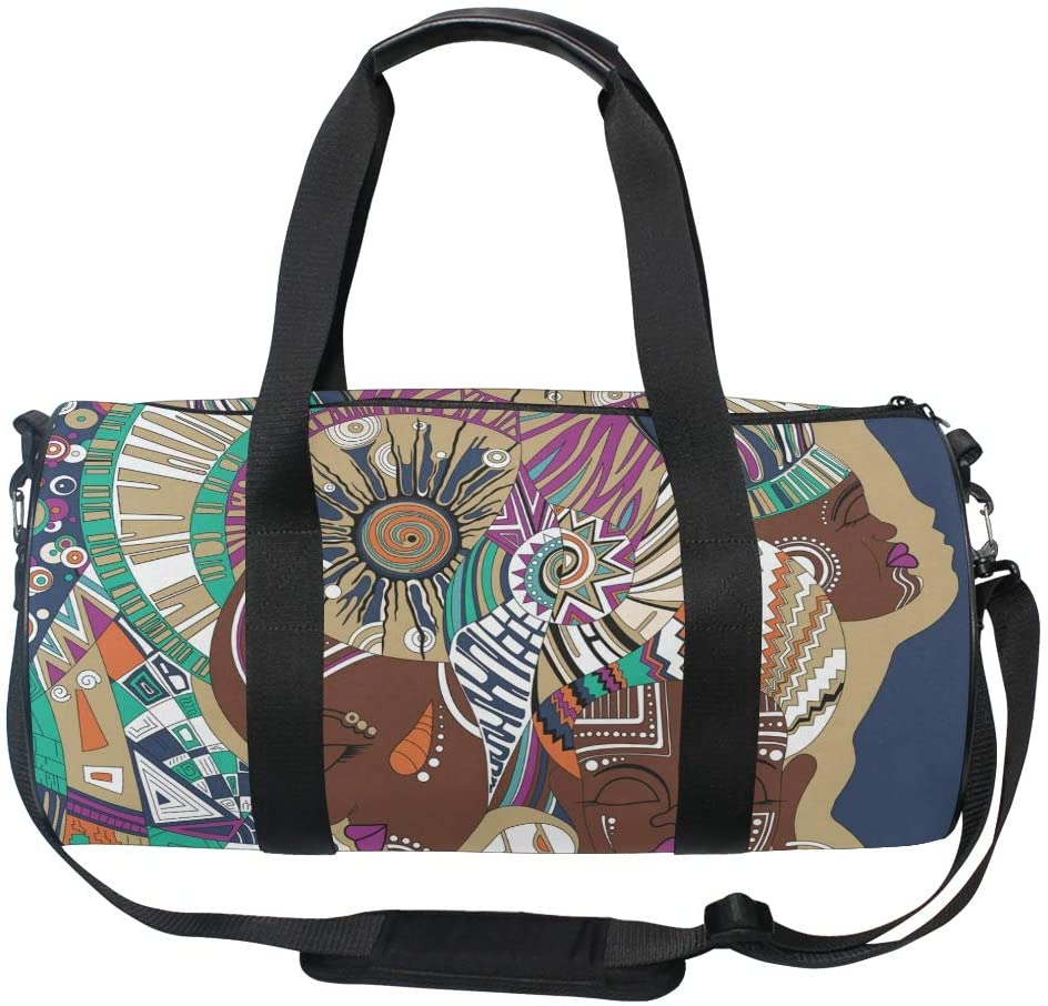 Sports Gym Duffle Bag Three Abstract African Girls Travel Luggage for Men Women