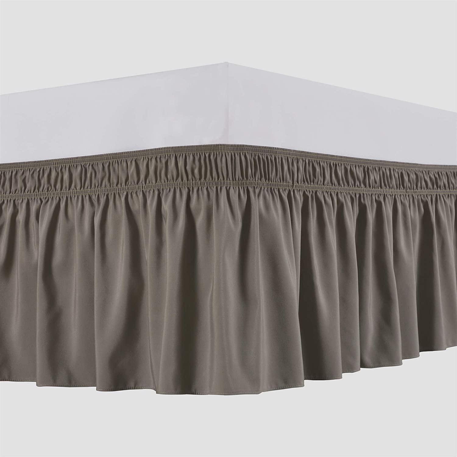 Biscaynebay Wrap Around Bed Skirts Elastic Dust Ruffles, Easy Fit Wrinkle and Fade Resistant Silky Luxrious Fabric Solid Color, Taupe for King and California King Size Beds 15 Inches Drop