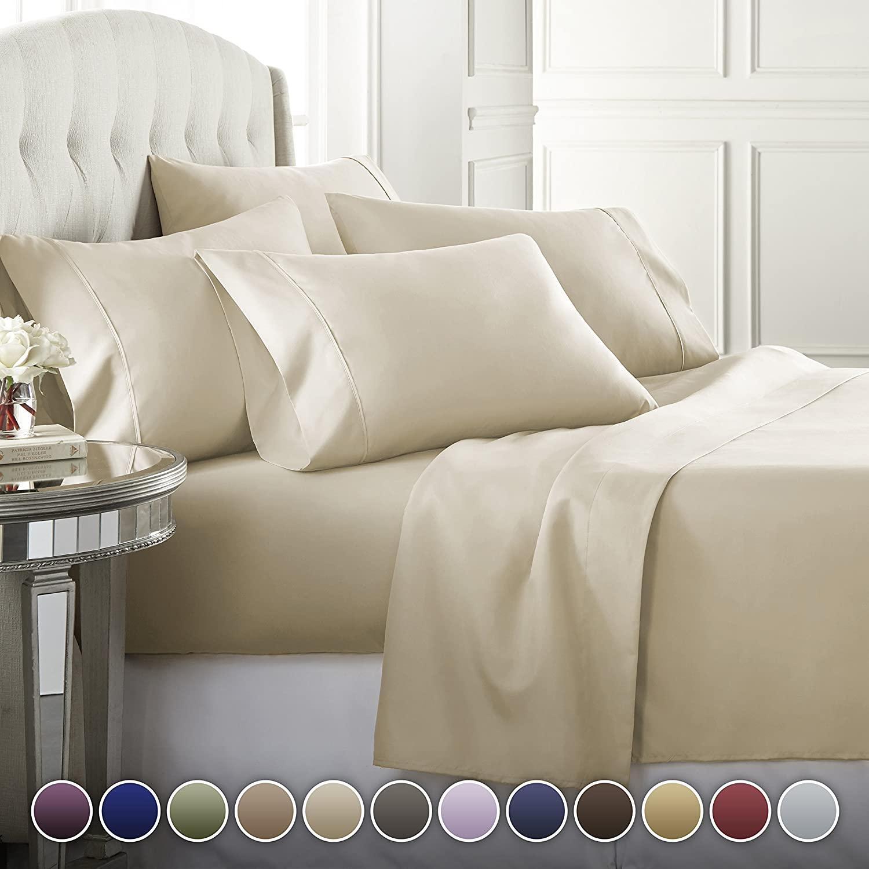Danjor Linens 6 Piece Hotel Luxury Soft 1800 Series Premium Bed Sheets Set, Deep Pockets, Hypoallergenic, Wrinkle & Fade Resistant Bedding Set(Full, Cream)