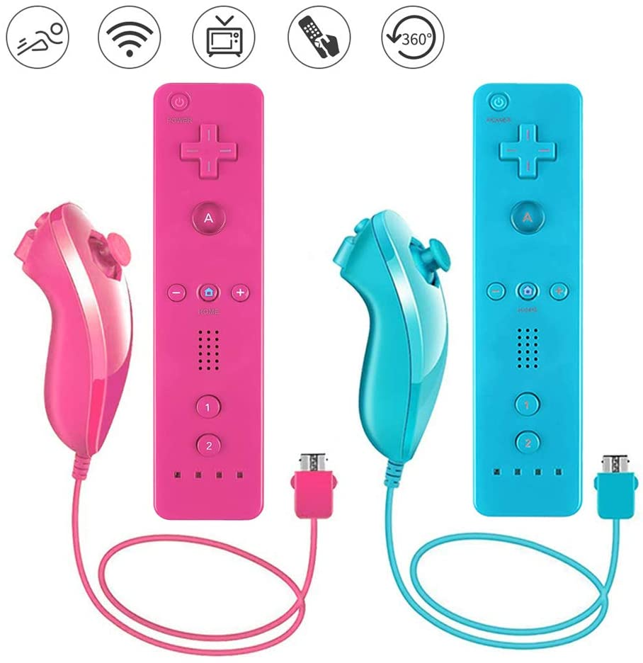Lactivx 2 Packs Nunchuck and Wii Remote Controller with Silicone Case and Strap Compatible with Wii Wii U Console(Pink and Blue)