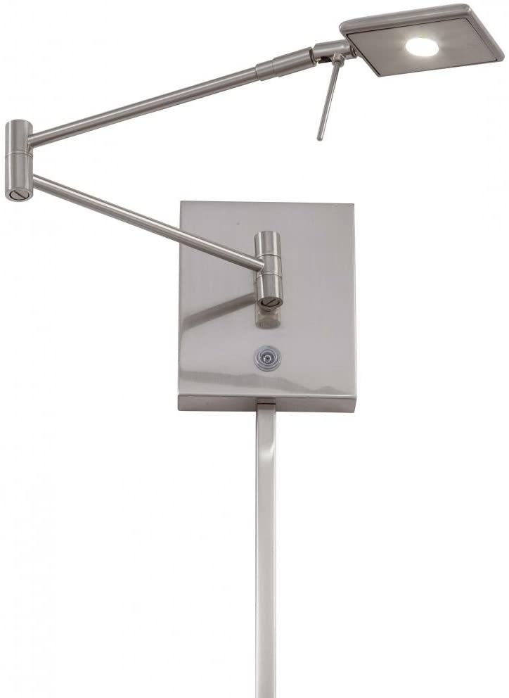 George Kovacs P4328-084, Georges Reading Room, 1 Light LED Swing Arm Wall Lamp, Brushed Nickel