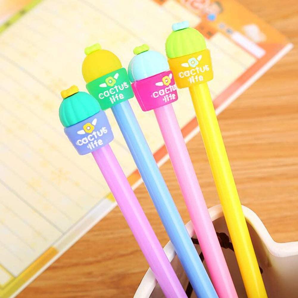 Sencoo 4 pack Black Gel Ink Pens Cute Cactus Children Stationery School Student Pens