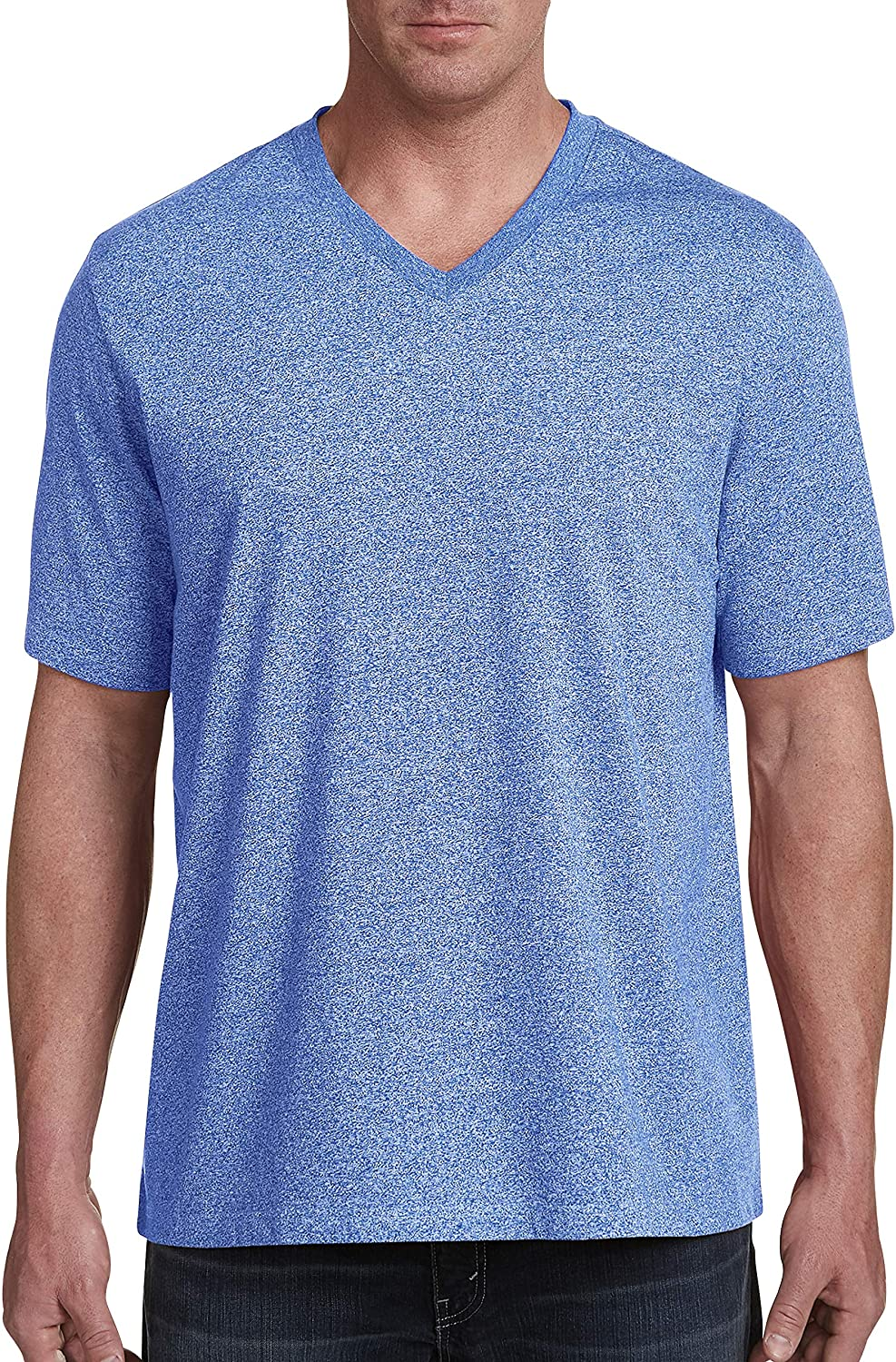 Harbor Bay by DXL Big and Tall Wicking Jersey V-Neck Tee, Nautical Blue Marl Heather, 1XL