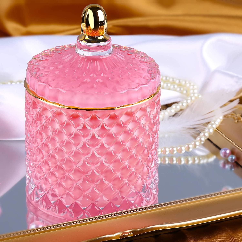 ALAMHI Jewelry Box, Trinket Box Crystal Glass Bride Girlfriend Gift Jewelry Trays Organizer Storage Lady Room Decor Decent Gift for Girl Women Mother Bride (Pink)