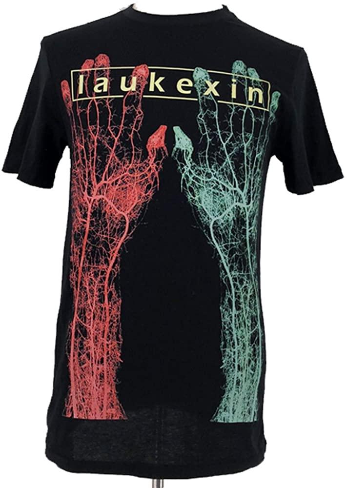 LAUKEXIN Red and Green Big Hand Printed T Shirt Unisex Men Women Hip Hop Tees