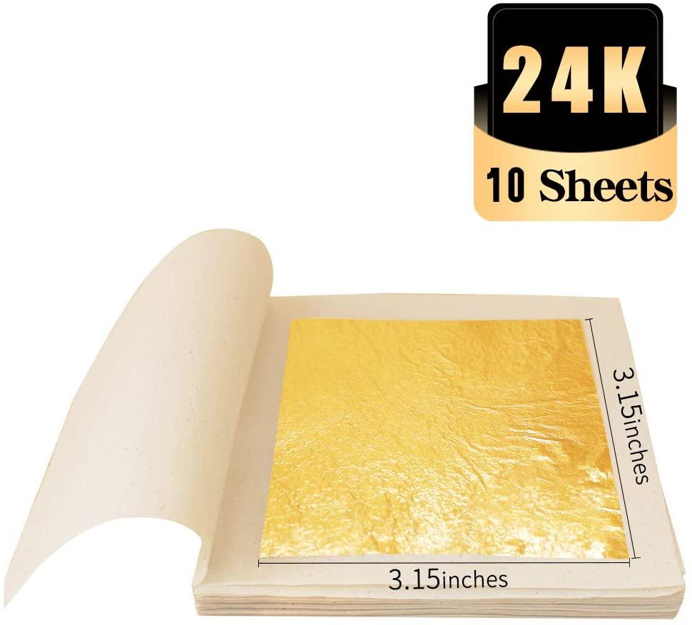 KINNO 24K Edible Gold Leaf Foil Sheets, 10 Sheets 3.15