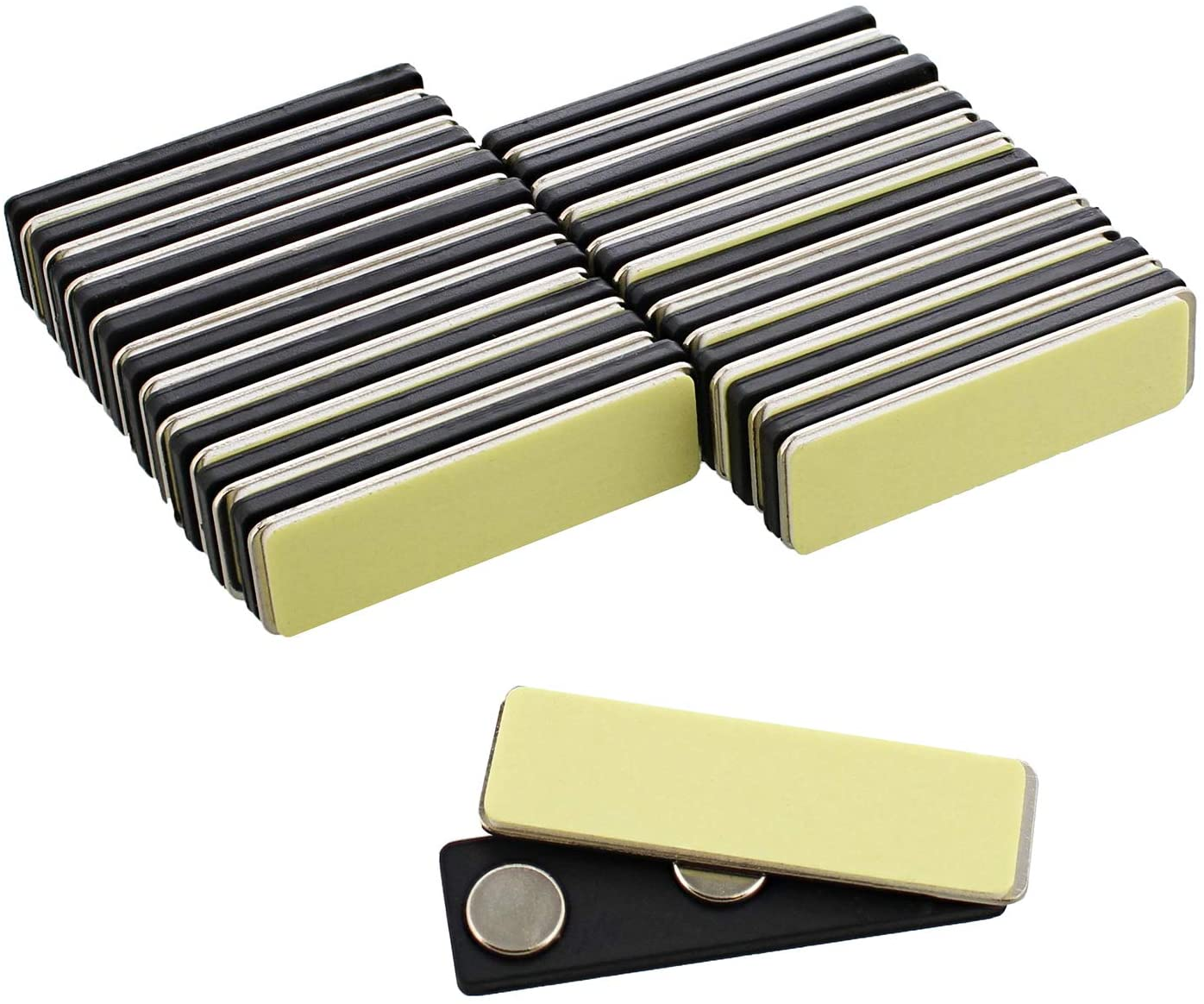 Lot45 Magnetic Name Badge Magnets - 20 Pack Magnet Name Tags Kits with Nametag Magnet Backing and Adhesive Badge Holders