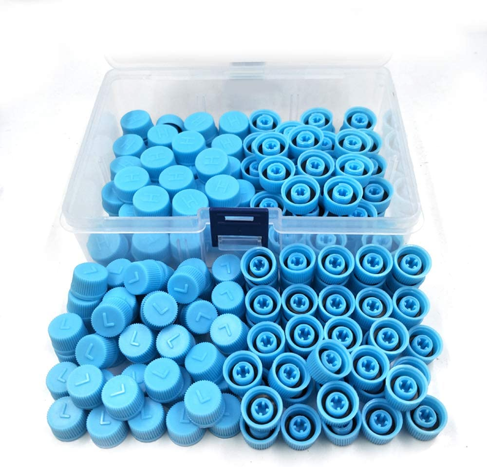 Nikauto 100 Pairs Car Air Conditioning Valve Core R134 Automotive A/C Protective Dust Caps High and Low Pressure Covers