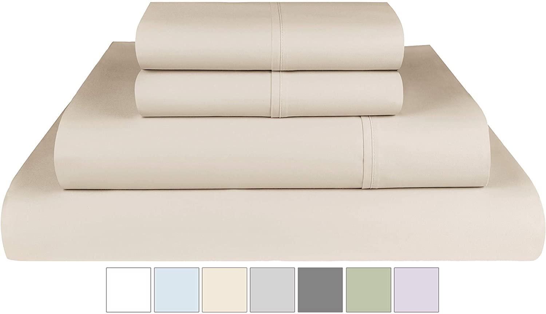 "Threadmill Home Linen 400 Thread Count 100% Extra-Long Staple Cotton Sheets, 4 Piece Queen Sheet Set, Fits Mattresses up to 18"" deep Pocket, Luxury Bedding, Smooth Sateen, Beige"