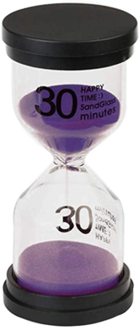 Hourglass, AblueA Sand Timer 30 Minutes Timing Device Sandy Clock Desk Display for Office Home Kitchen (Black Lids and Purple Sand)