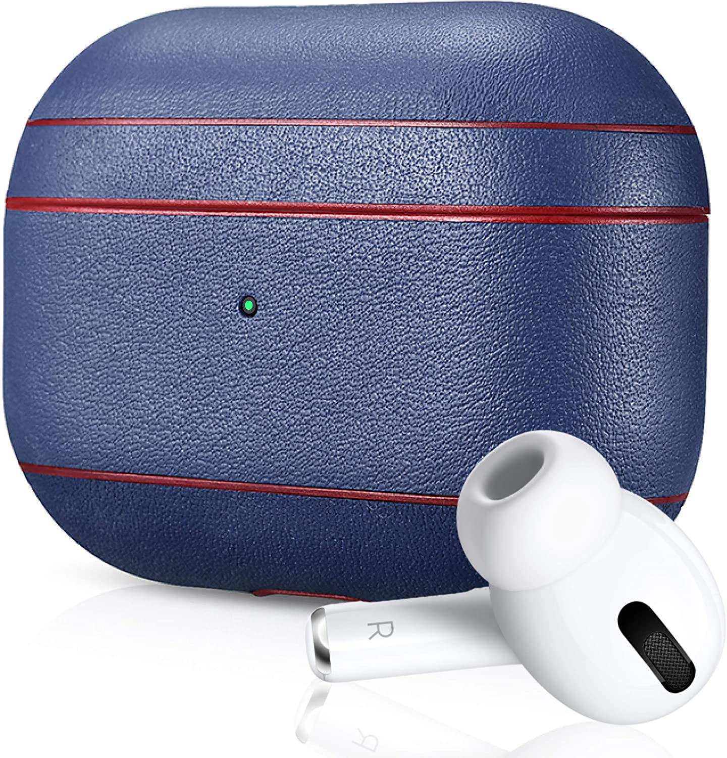 Air Vinyl Design, Leather Case for Apple AirPods Pro | Protective Case Cover | Wireless Charging Capability | Shockproof and Scratchproof Design (Navy | Red Trim)