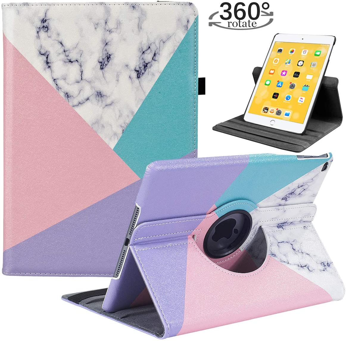 LRCXL iPad 5th/ 6th Generation Case, iPad 9.7 Inch 2017/2018 Case - Rotating Stand Protective Cover with Auto Sleep Wake for Apple ipad Air 2/ iPad Air 2013 (Cube)