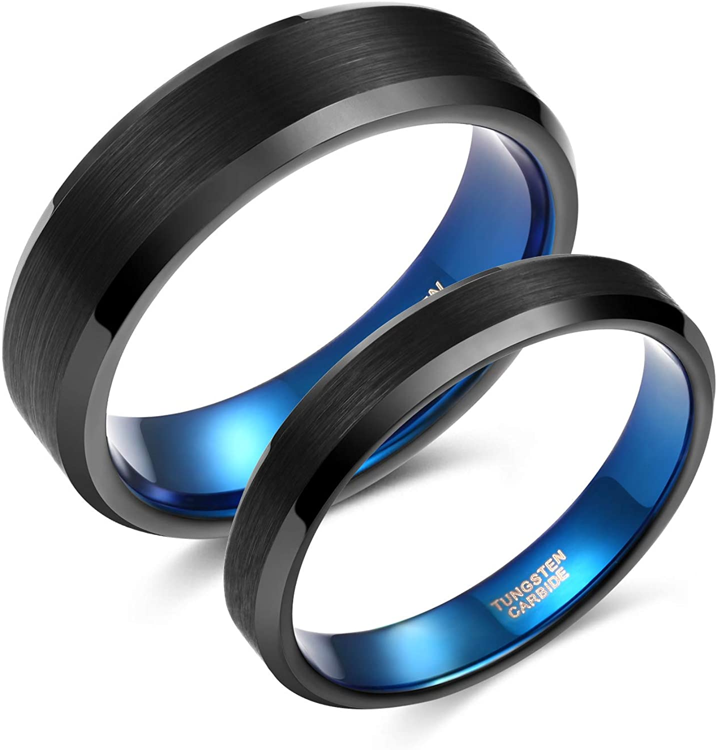 Greenpod 4mm 6mm Wedding Band for Men Women Black Blue Brushed Tungsten Carbide Wedding Rings for Couples Size 4-13