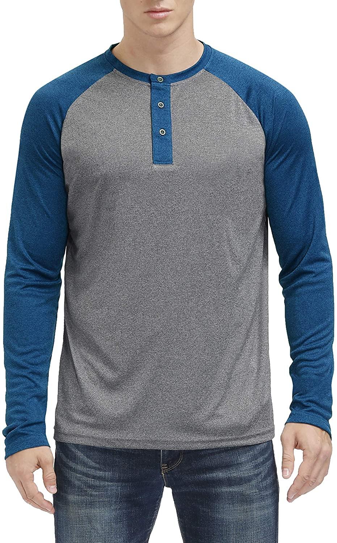MOHEEN Men's Long Sleeve Henley Shirts Moisture Wicking Performance Collarless Golf Athletic T-Shirt