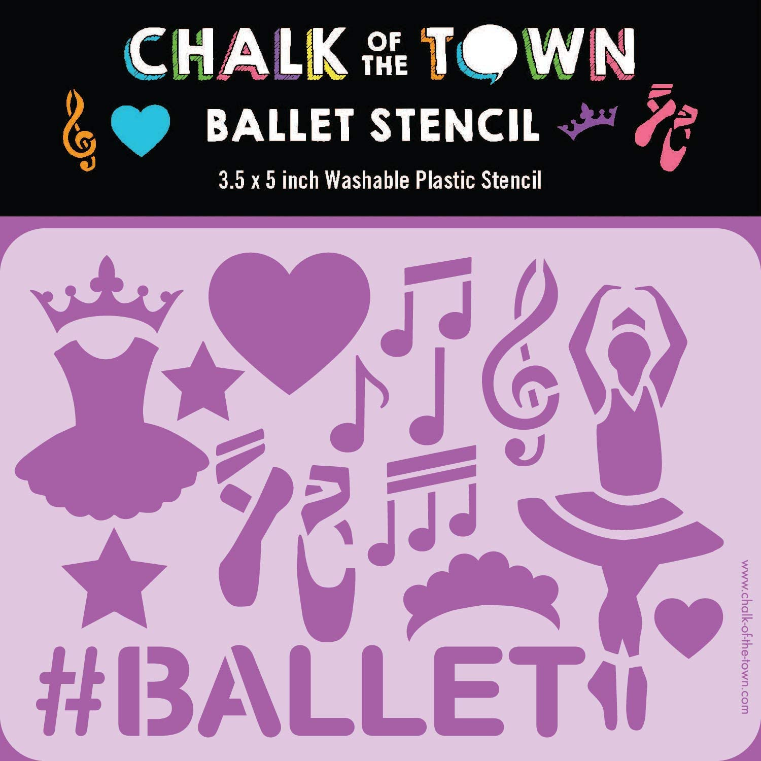 Chalk of the Town Ballet Themed Plastic Stencil for Kids