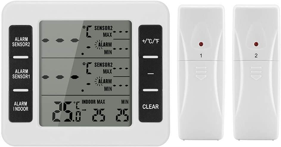 Refrigerator Thermometer, ALLOMN Wireless Digital Freeze Thermometer with 2 Wireless Sensors Indoor/Outdoor Temperature Monitor with Audible Alarm, Min/Max Record LCD Display for Kitchen, Restaurants,