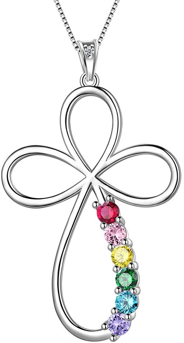 Aurora Tears LGBT Necklace Women 925 Sterling Silver Gay Pride Pendant Rainbow Jewelry