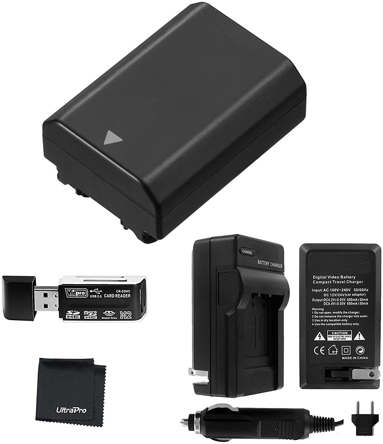 UltraPro NP-FZ100 Replacement Battery with Charger Bundle for Sony NP-FZ100, BC-QZ1 and Sony Alpha 9, Sony A9, Sony Alpha 9R, Sony A9R, Sony Alpha 9S, Sony A7RIII A7R3, Sony a7 III Digital Camera