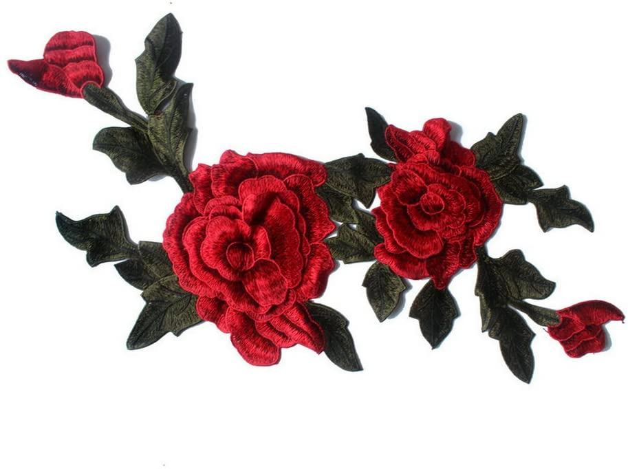 Rose Floral Trim Venise Applique Motif Embroidered Collar Trimming Sew on Patches (RED)