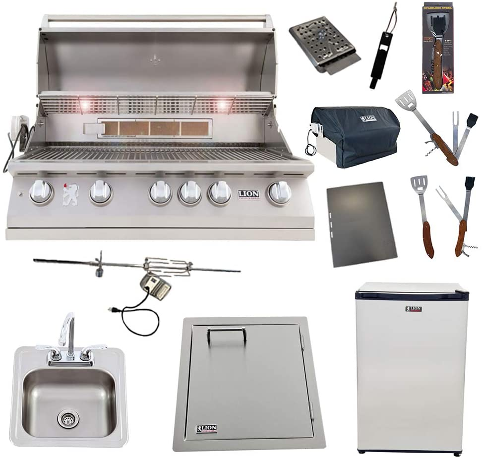 Lion 40-Inch Liquid Propane Grill L90000 with Refrigerator and Vertical Door with Towel Rack and Drop-in Sink and 5 in 1 BBQ Tool Set Best of Backyard Package Deal