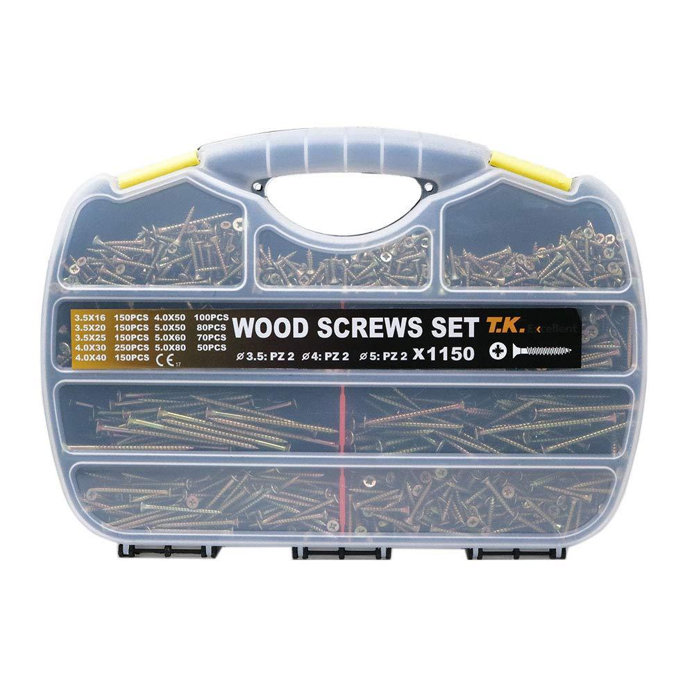 T.K.Excellent Wood Screw Phillips Flat Head Drywall Chipboard Screw Assortment Kit,1150 Pcs