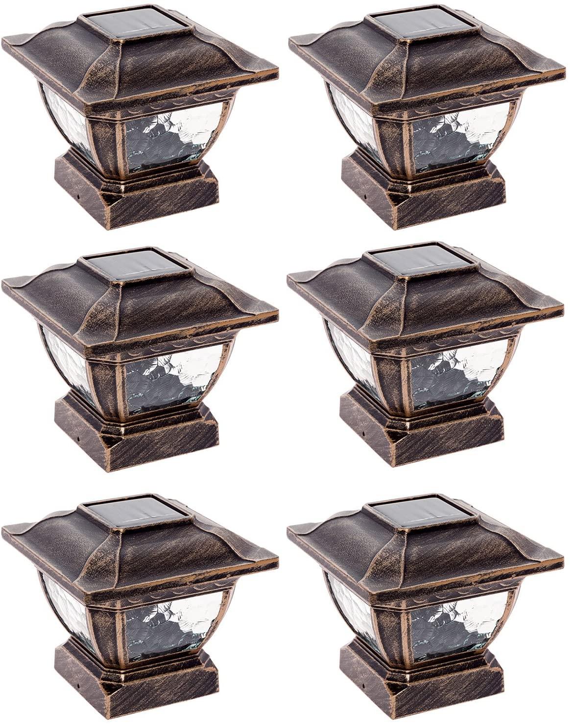 Paradise GL28998BZ Solar Cast Aluminum LED Post Cap Light for 4x4 Wood Posts (Bronze, 6 Pack)
