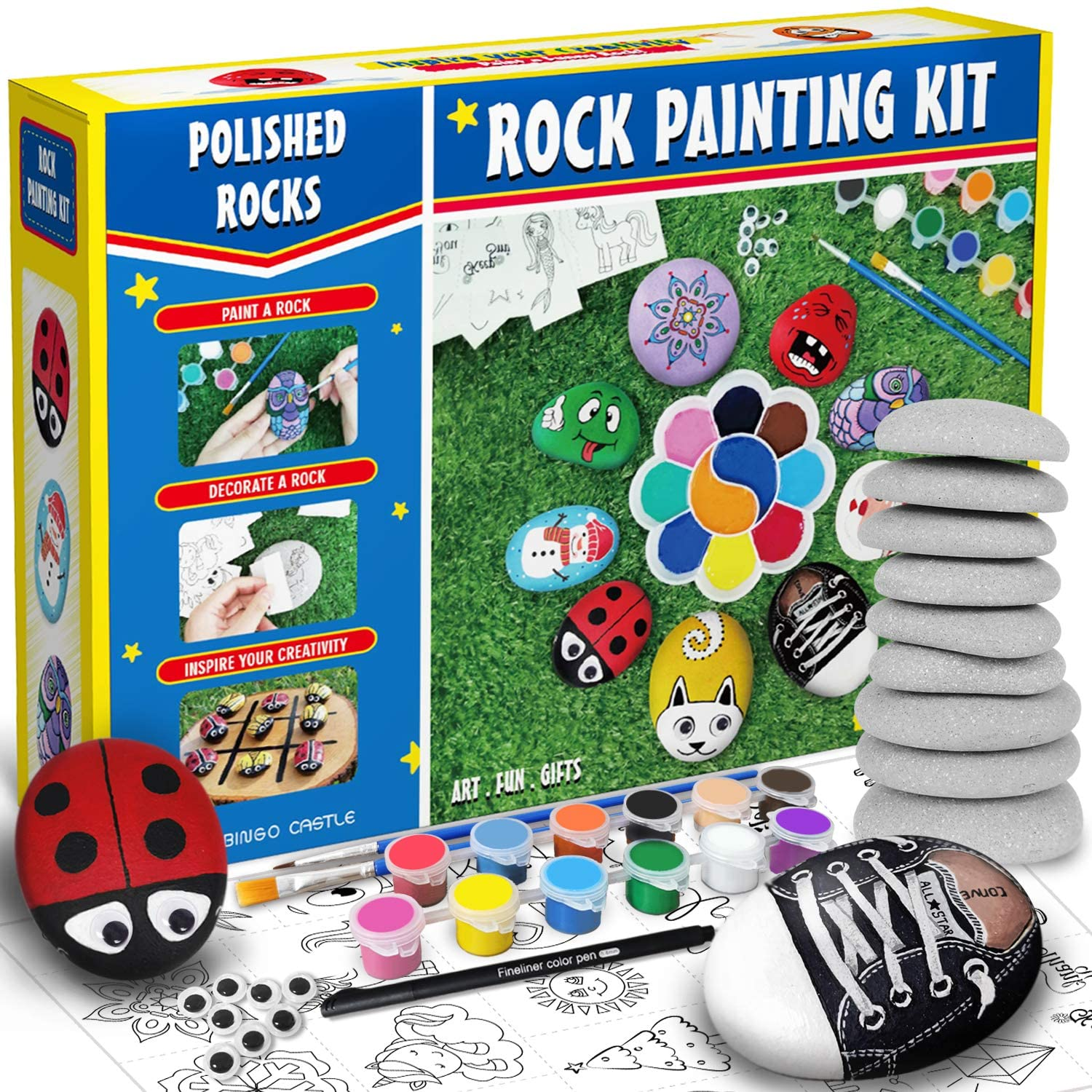 Bingo Castle Rock Painting Kit - Big Polished White-Grey Rocks for Painting, Arts and Crafts for Kids Age 4-8-12 Acrylic Paint 25 Transfer Designs Hide and Seek River Rocks Gifts for Boys and Girls