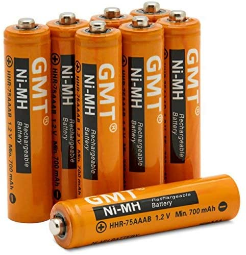 GMT Cordless Phone Batteries NI-MH Rechargeable AAA 750mah Extra Power (8 Pack) Fast Recharge Lasts Longer | Compatible Replacement Battery for Panasonic Phones Models HHR-4DP HHR-55AAABU KX-TG103