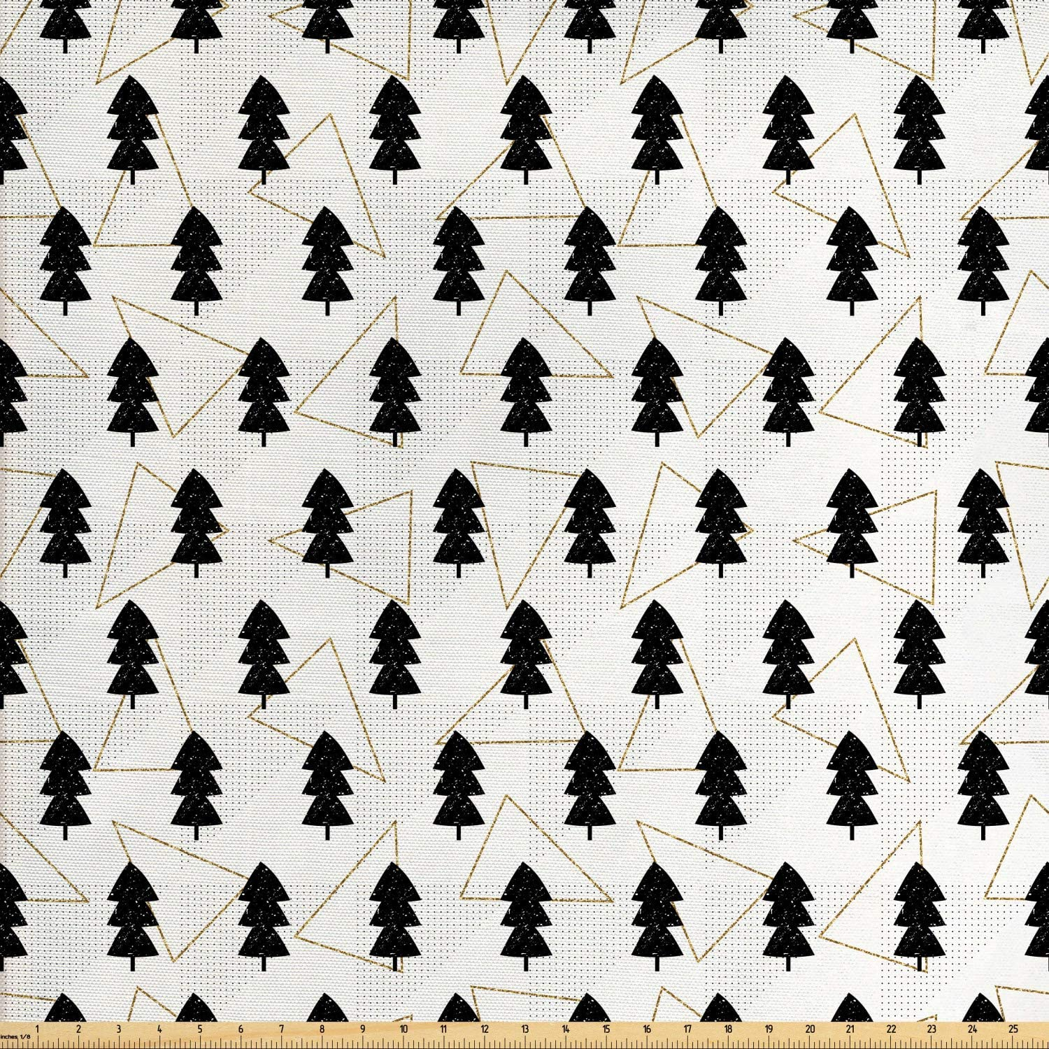 Lunarable Tree Fabric by The Yard, Woodland Pattern with Grunge Effect Black Pine Trees Forest Triangles and Dots, Decorative Fabric for Upholstery and Home Accents, 2 Yards, Yellow White