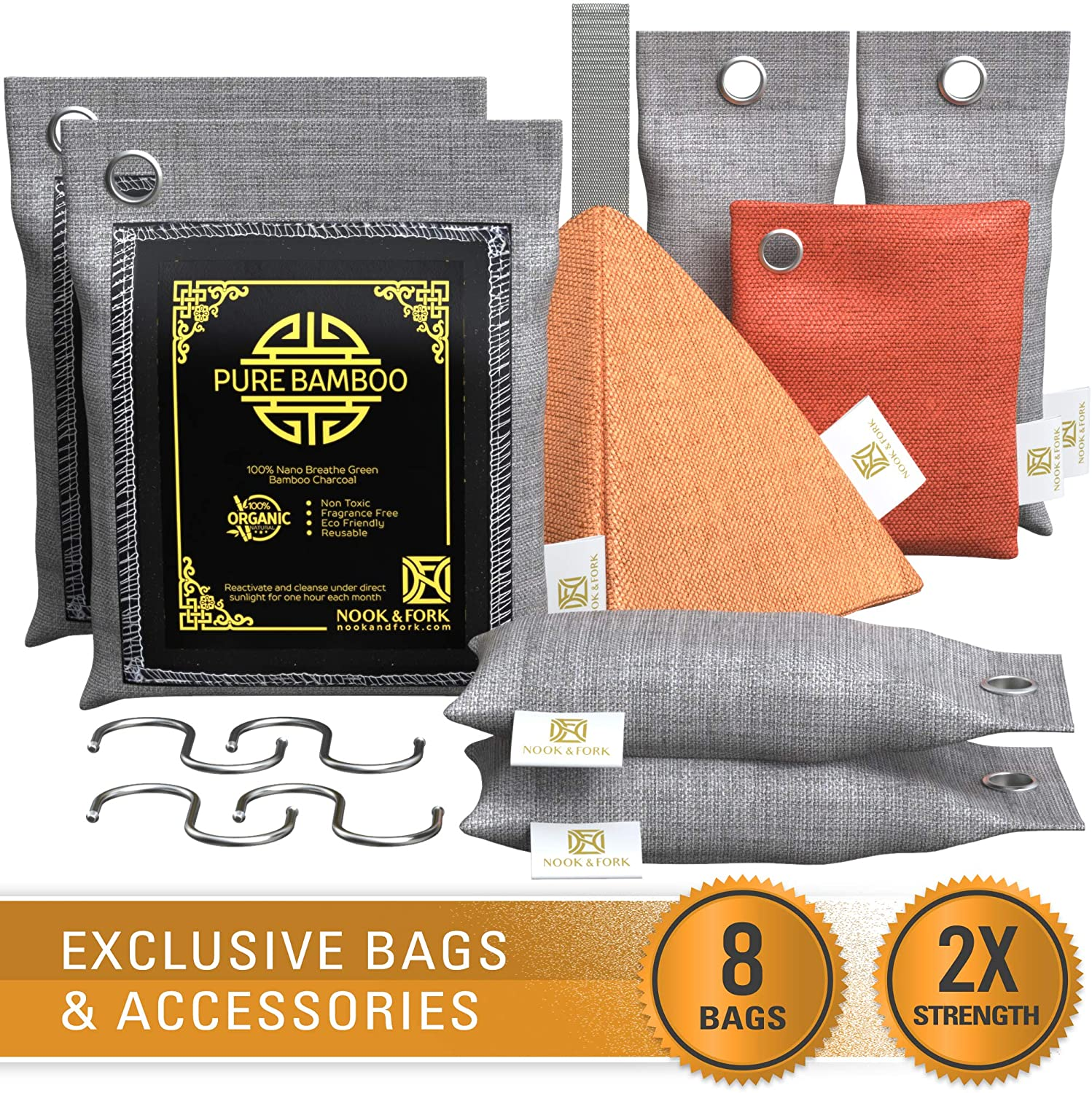 Nook & Fork Pure Bamboo Charcoal Bags Odor Absorber – 8 Activated Breathe Green Charcoal Bags for Home, Car, Pets to Eliminate Odors (Yellow)