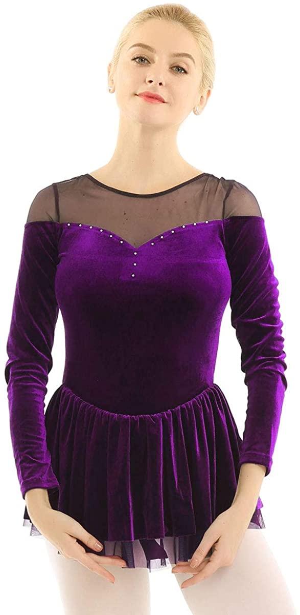 Agoky Women's Double Layer Mesh Shoulder Velvet Long Sleeve Dance Leotard Dress Figure Ice Skating Wrap Skirt