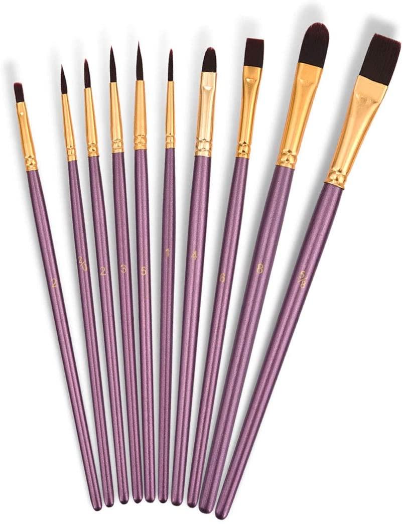 Nylon Hair Angled Paint Brushes Set Art Paintbrush for Watercolor, Acrylic, Gouache, Oil Painting,Purple