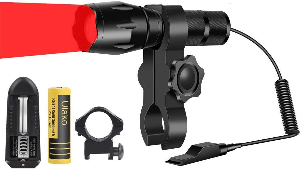 Ulako Red Light 300 Yards Spotlight Flood Light Zoomable Flashlight Torch for Hog Pig Coyote Varmint