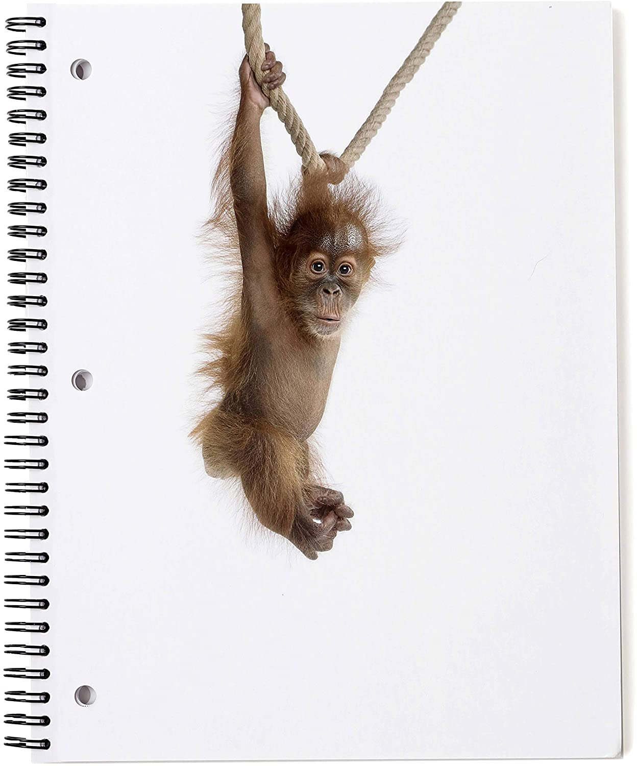 Monkey Spiral Notebook - 1 Subject, Wide Rule, 70 Sheets - Glossy Cover with Quality Paper - 6 Cute, Modern, Fun Animal Note Books Available