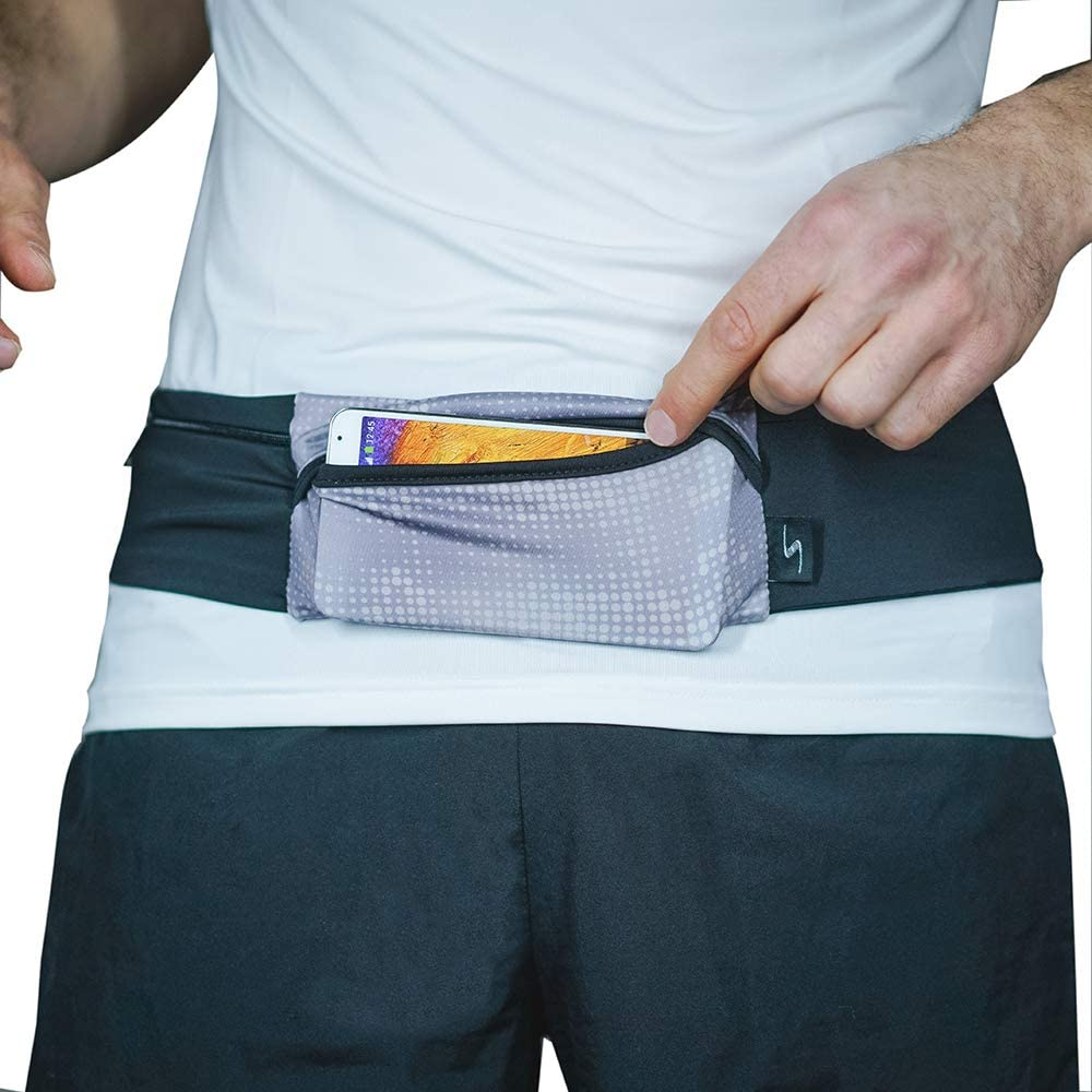 Sprigs 3 Pocket Adjustable Running Belt Waist Pack, Fanny Pack for Working Out with Sweat Resistant Backing, Holds All iPhone Models