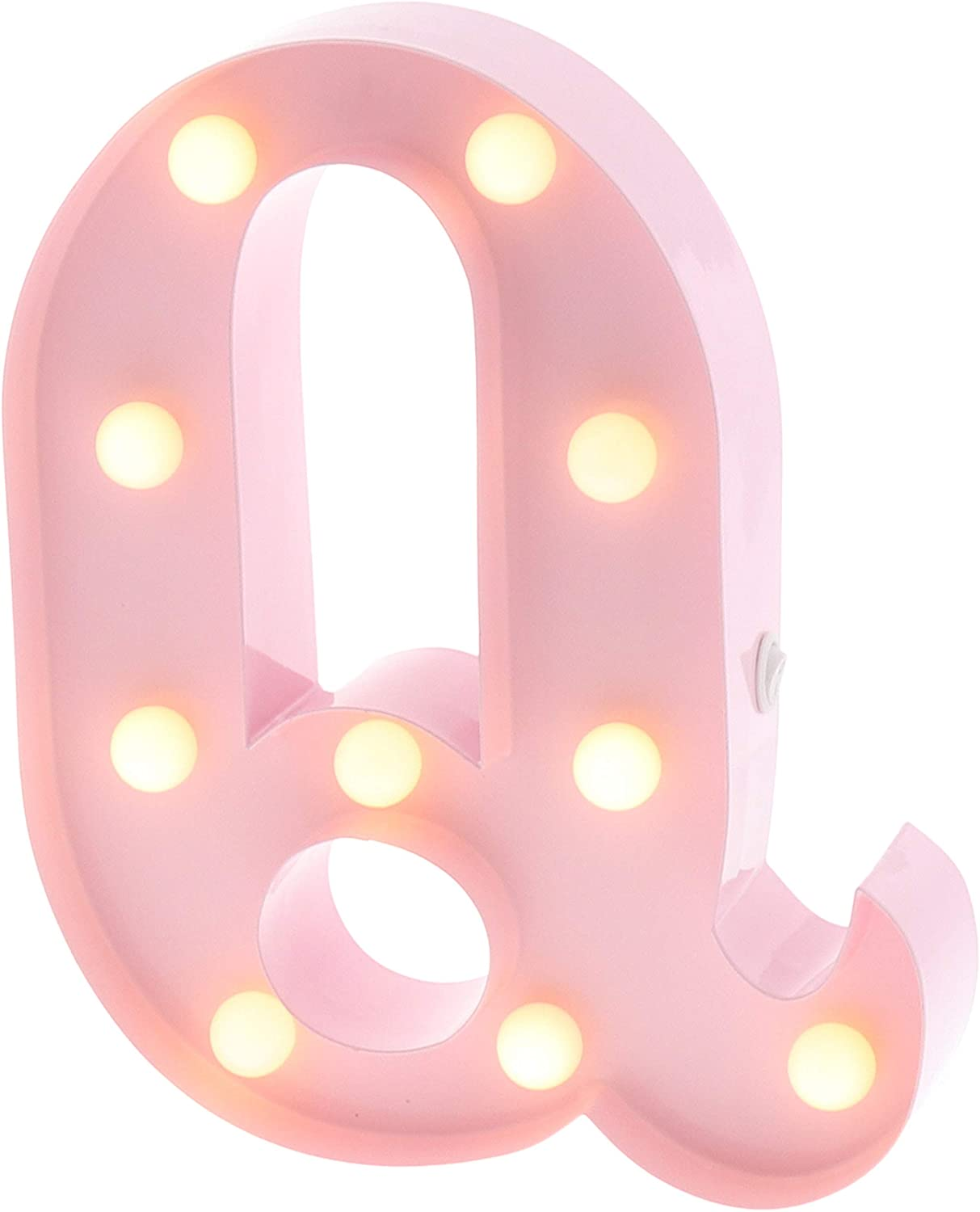 """Barnyard Designs Metal Marquee Letter Q Light Up Wall Initial Nursery Letter, Home and Event Decoration 9"""" (Baby Pink)"""