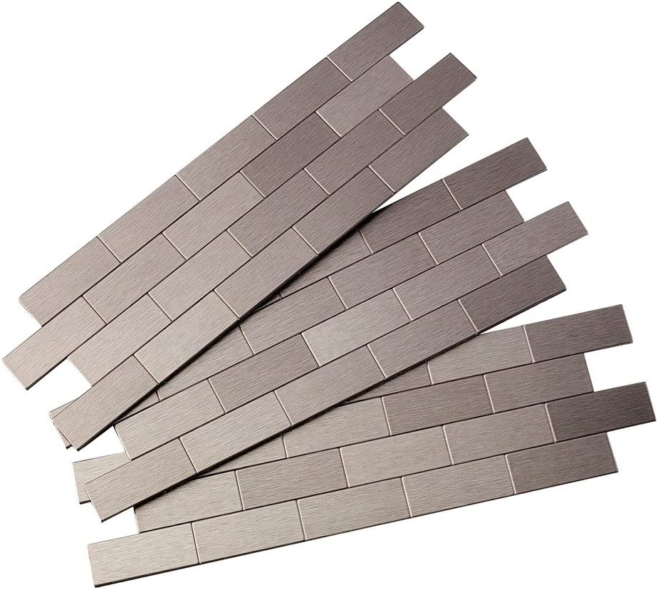 Aspect Peel and Stick Backsplash 12.5in x 4in Subway Stainless Matted Metal Tile for Kitchen and Bathrooms (3-Pack)