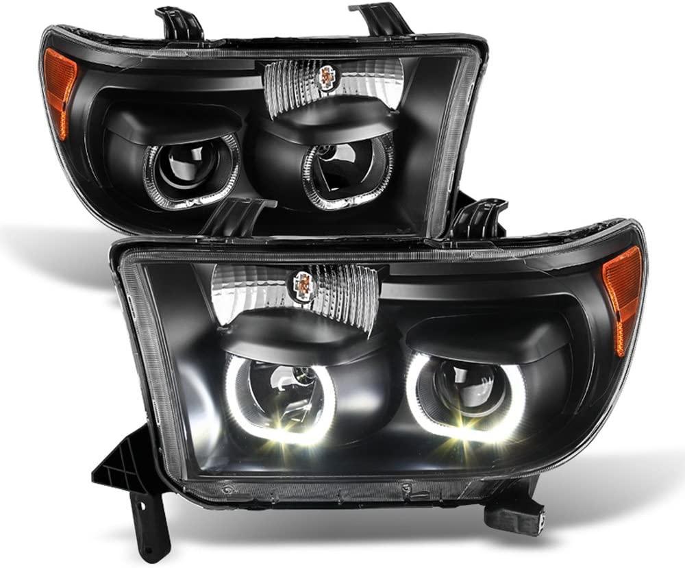 ACANII - For Black 2007-2013 Toyota Tundra 08-17 Sequoia Quad LED Halo Projector Headlights Headlamps Driver + Passenger