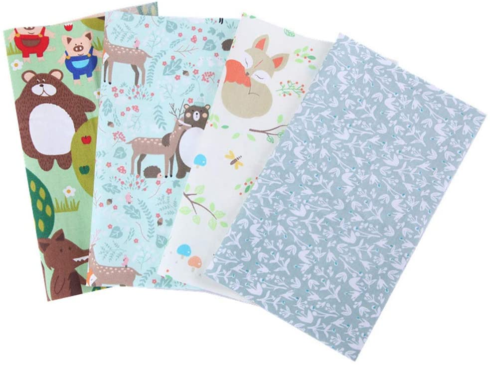 ZUZZEE 4pc Cartoon Prined 9.8'' x 7.9'' Fat Quarters Fabric Bundles for Patchwork Quilting, Pre-Cut Quilt Squares for DIY Sewing Patterns Crafts