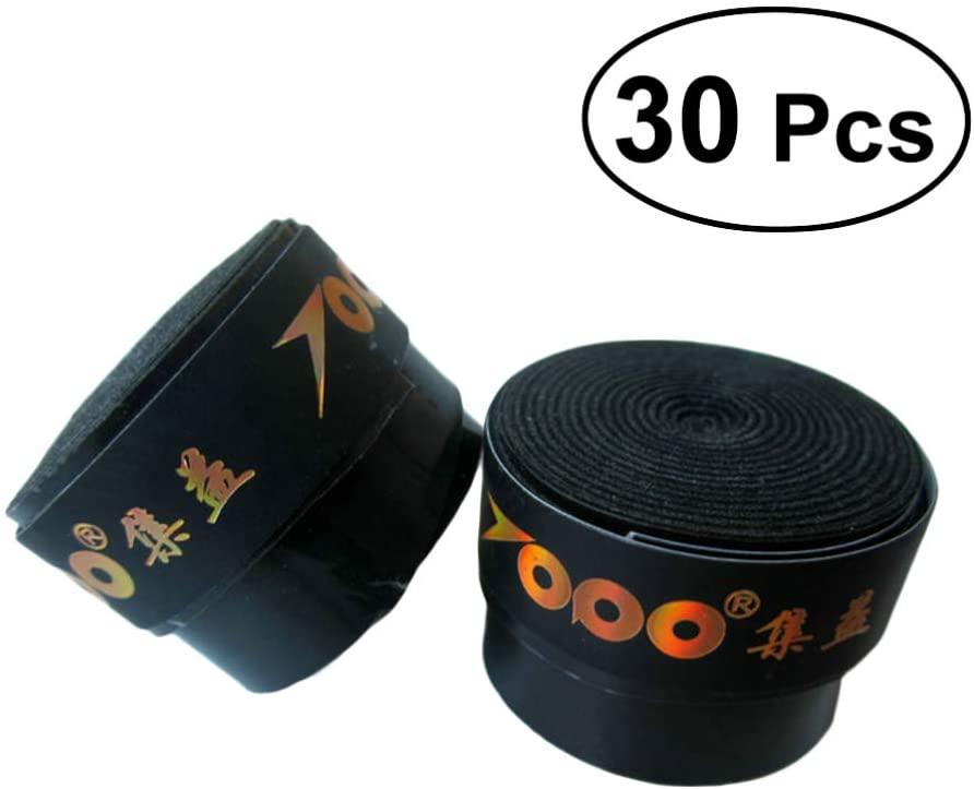 Garneck 30pcs Racket Grip Sweatband Anti-Slip Racquet Overgrip Tape Wrapping Band Replacement for Badminton Squash Pickball Tennis Paddles Fish Pole (Black)