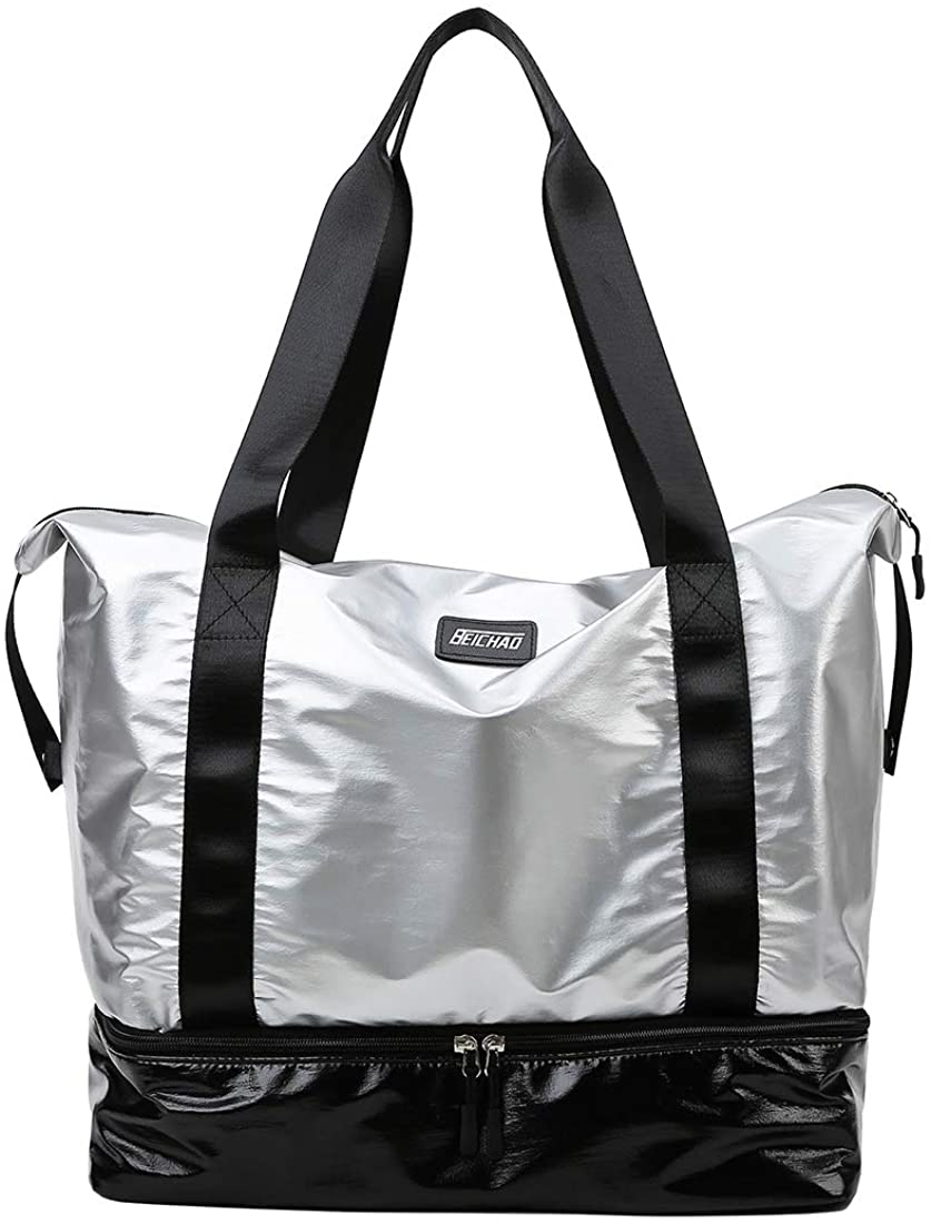 fancyfree Double Layers Bag, Large Travel Tote Bag with Bottom Shoes Compartment, Ideal Gym Duffle Bag for Women and Men