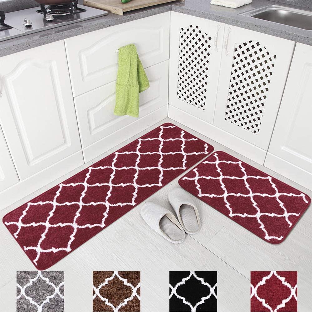 Carvapet 2 Pieces Microfiber Moroccan Trellis Non-Slip Soft Kitchen Mat Bath Rug Doormat Runner Carpet Set, 17