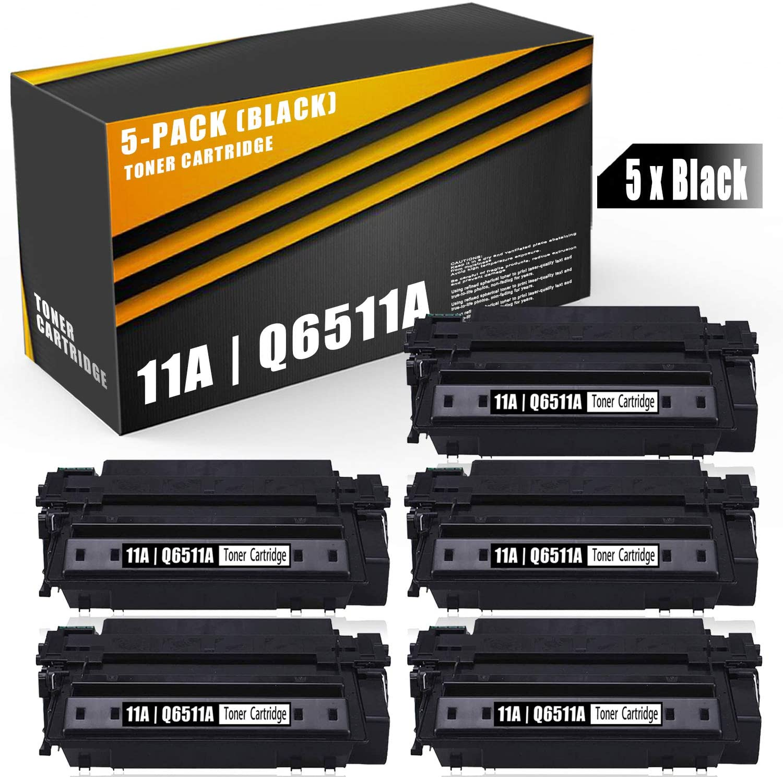 5 Pack Black Toner Compatible 11A | Q6511A Toner Cartridge Replacement for HP Laserjet 2430 2410 2420 2420d 2420n 2420dn 2430tn 2430dtn 2430n Printer